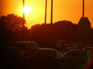 A sunset over a California parking lot.